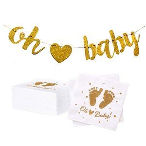Oh Baby Gold Sparkly baby shower napkins & banner